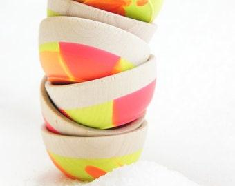 Wooden Mini Bowl Set of Two: Neon, Modern Kitchen, Summer