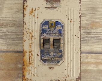 Vintage Multi Breaker Assemblage Art Robot Part White Blue Light Switch Old