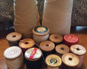 Fourteen -  Thread  Spools - Wood Spools - Cotton Twine - Heavy Duty Button and Carpet Thread - Knitting and Crochet Thread - Sewing Thread