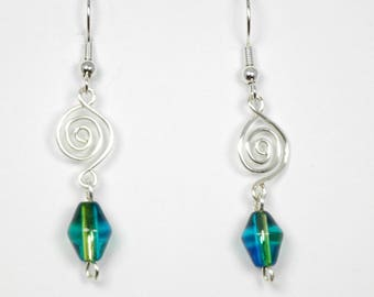 Blue-Green Glass with Silver Wirework Earrings