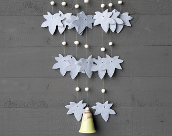 Handmade Blue Ceramic Wind Chime Natural Lime Bell Beautiful Sound Unique