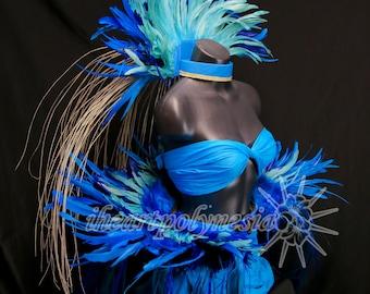 Tahitian dance sea blues costume