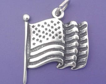 American Flag Charm .925 Sterling Silver, UNITED STATES Of America USA Pendant - lp1140