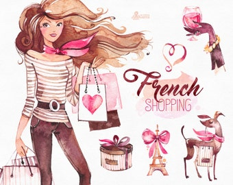 French Shopping. Watercolor fashion Clipart, shoes, fashion, dog, gift, Paris, france, logo, lady, girl, bags, shop, stickers, boutique,