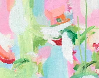 """Long Narrow Abstract Art Original Painting Susan Skelley 36 X 12 Extra Large Free Domestic Shipping Pink Coral Green Teal Turquoise """"TMI"""""""