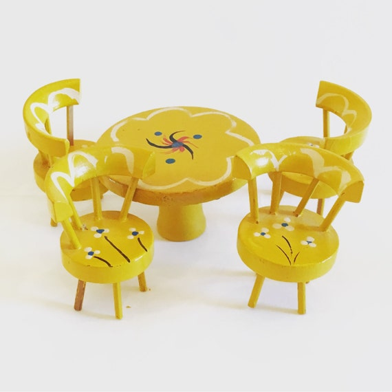 Vintage Mid Century Hand Painted Miniature Dollhouse Set of Four Wooden Chairs and Matching Table