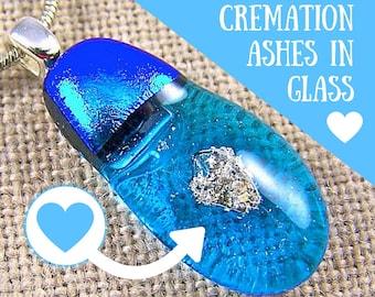 "Pet Memorial Pendant Dichroic Glass Cremation Jewelry - Teardrop n Heart Turquoise Blue Fused Glass Drop Keepsake - Custom Made - 1"" / 25mm"