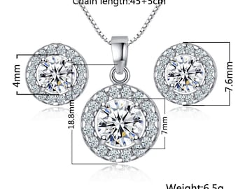 Sterling silver wedding cubic Zirconia pendant necklace stud earrings Jewelry Set