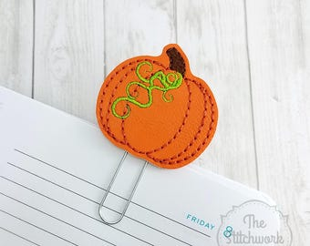 Pumpkin Planner Clip -  Fall - Thanksgiving - Halloween - Paperclip - Bookmark