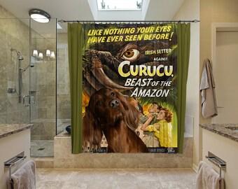 Irish Red Setter Art Shower Curtain, Dog Shower Curtains, Bathroom Decor - Curucu Movie Poster