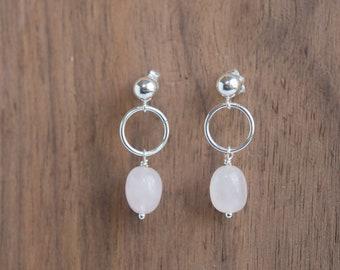 Minimalist Rose Quartz Earrings. Dangle Stud Earrings. Short Boho Earrings. Rose Quartz Jewelry Sterling Silver. Earrings Gift For Her.