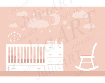 Cartoon cute baby furnitures and baby room vector image