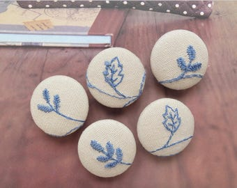 Chic Embroidery French Blue Floral Leaf Branches On Dark Beige-Handmade Fabric Covered Buttons(5Pcs, 0.87 Inches)