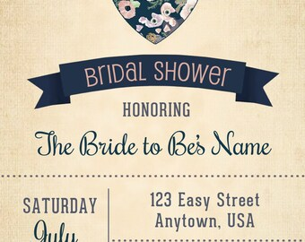Bridal Shower Invitation Floral Heart Burlap, bridal shower invitation, bridal shower burlap and navy, bridal shower party, bridal shower