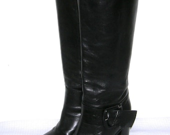 Vintage SARTORE BOOTS/ SARTORE Paris/ Women's/ Knee High/ Fashion/ Riding/ Tall/ Black Leather/ Strap/ Buckle Boots/ Made Italy/ European 37