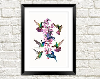 HUMMINGBIRDS ART PRINT: Vintage Birds and Pink Flower Illustration Wall Hanging (A4 / A3 Size)