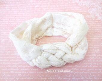 Baby Headband, Baby head wrap, knotted braided baby headband, baby turban, baby headband lace, toddler headband, ivory baby headband