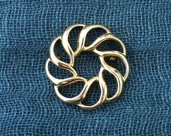 NAPIER - Vintage 1980s Modernist - Gold-Plated Circular Wreath Brooch