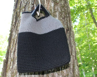 Black Gray Tote Bag, Crochet Tote Bag, Book Tote Bag, Small Purse, Crochet Purse