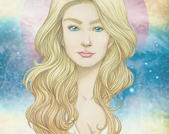 Miranda- Original mixed media illustration print