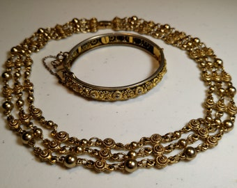 Vintage Ornate Gold Tone Jewelry Lot