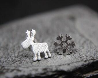 Reindeer snowflake 925 sterling silver earrings Christmas Elk Winter
