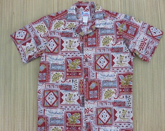 Hawaiian Shirt Men HAWAII Brand Aloha Shirt Vintage Tiki Tribal Turtles Outrigger Canoes Tropical Print Cotton - S - Oahu Lew's Shirt Shack
