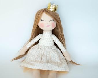 Princess doll, rag doll, cloth doll, dark blonde hair, golden crown, cream outfit, birthday gift, girl gift