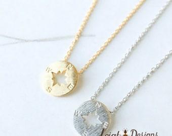 Compass Necklace, True North, Small Pendant Necklace, Silver Compass Necklace, Gold Compass Necklace