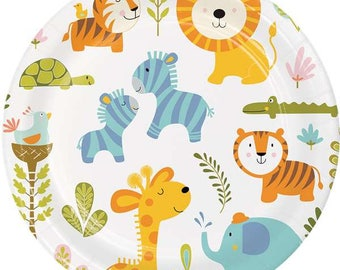 Jungle Plates Jungle Party Jungle Party Decorations Jungle Tableware Animal Paper Plates  sc 1 st  Etsy & Safari party plates | Etsy