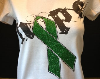 Kidney Disease / Liver Cancer Awareness - Hope with Green Gliitter Ribbon