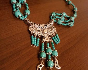 turquoise Necklace in ethno design Central Asian style