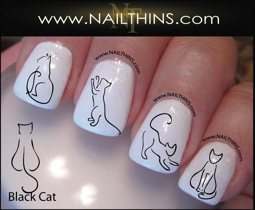 Black cat nail decal kitty nail art nail designs nailthins zoom prinsesfo Choice Image