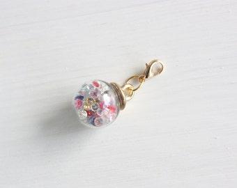 Confetti crystal ball planner charm