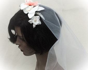 Bridal headpiece, hair flower, rustic flower headpiece, peach flower headpiece, aprox 8x3inch, peach Ivory flower headdress,