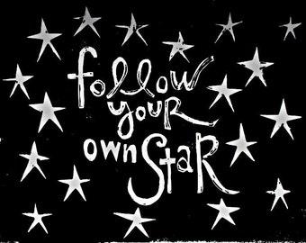 """follow your own star linoleum block print - 9"""" x 12"""" wall art"""