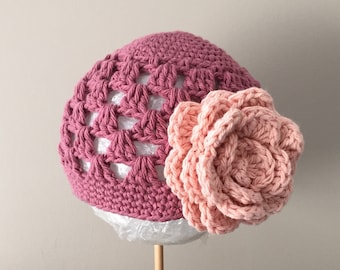 Beanie Hat Crocheted RTS Size 3-6 Month Country Rose, Peach Open Weave Style