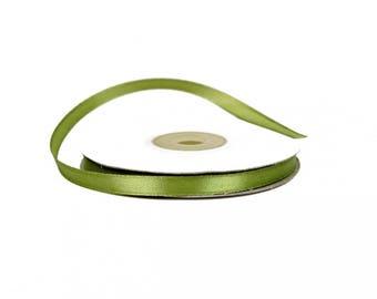 6 mm - spool of 25 meters of ref 563 OLIVE green satin ribbon