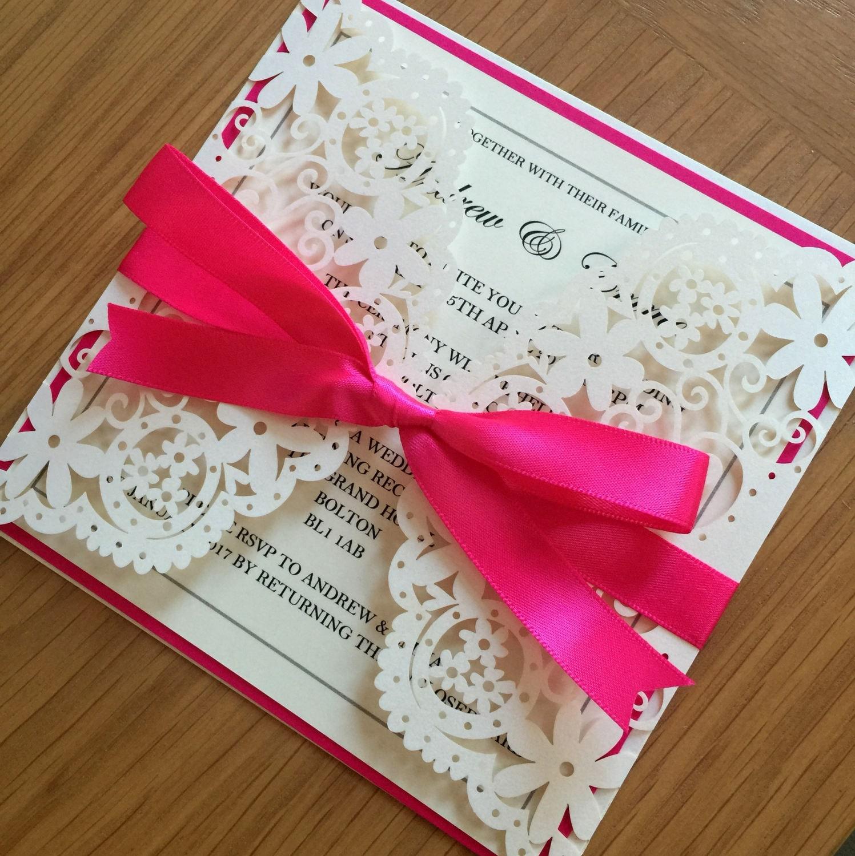 Ivory Laser Cut wedding Invitation paper lace luxury wedding