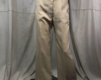High Waisted Beige Pants Belted 70s Women's Small VTG Ecru Slacks