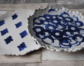 Handmade Scallop edged plate, platter, dish, blue and white