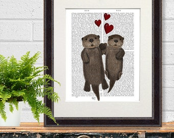 Otter print - Otters in Love Otters holding hands - floating otters otter wall art otter gift otter art print first anniversary gift UK shop