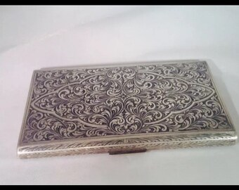 Antique Italian Silver 800 Cigarette Case Persian Design