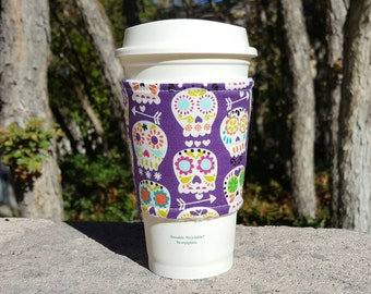 FREE SHIPPING UPGRADE with minimum -  Fabric coffee cozy / cup holder / coffee sleeve - Happy Sugar Skulls on Purple