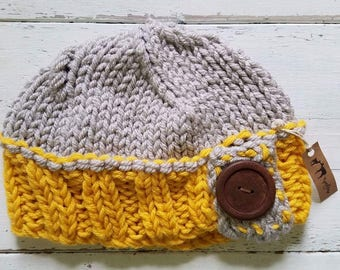 Knitted Toddler Button Hat