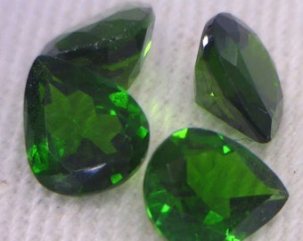 One Green Chrome Diopside Natural Gemstone 6x5 mm Faceted Pear Average .54 carat