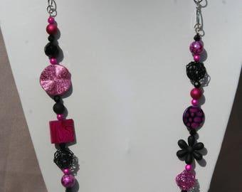 Necklace fuchsia and black