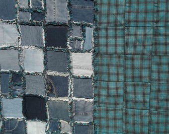 Up-cycled denim quilt; faux chenille seams, fleece lined, teal plaid backing, large lap/short twin size blue jeans quilt, improved rag style