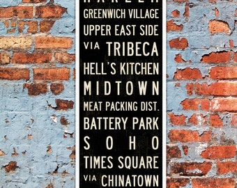 SMALL New York Subway Sign, New York City Poster, New York Subway Art Print, NYC Transit Sign, Industrial Decor, Decorative Wall Art, 12x36.