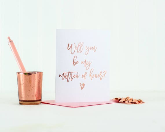 Will You Be My Matron of Honor card Rose Gold Foil matron of honor proposal bridesmaid box gift bridal party card wedding card invitation